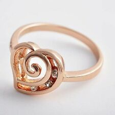 Girls Classic 14K Rose Gold Plated Clear Cubic Zirconia Heart Charm Finger Ring