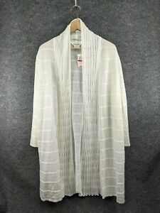 Nwt Exclusively Misook Womens Size 2X White Mesh Thigh Length Cardigan