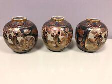 """3 Vintage Satsuma Vase Moriage Ginger Jar China 5 1/2"""""""