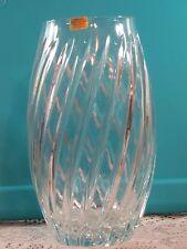 "Lead Crystal 24% Swirl Large Vase Hand Made U.S.S.R  9 1/4"" Tall"