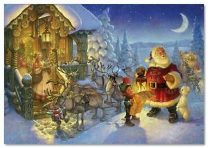 Christmas Day-Santa ?laus elves Animals Christmas Modern Russian Postcard