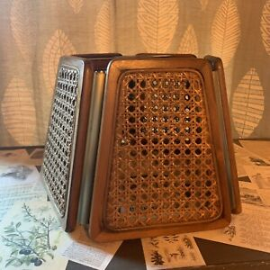VTG 70s Cane Caning Brass Metal Lampshade Pendant Shade No Light