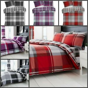 Duvet Quilt Cover Reversible WAVERLY CHECK Poly-Cotton Size Single Double King