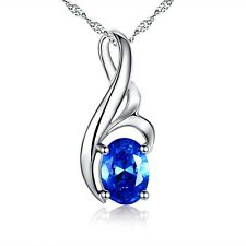 Mabella Sterling Silver Birthstone Necklace Simulated Blue Sapphire Pendant, Chr