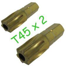 Torx Security Star+Pin T45 Screw driver Bit x2  TX45 Titanium coated long life