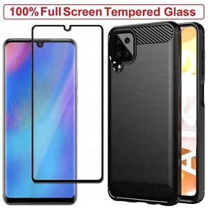 Samsung A12 Case Armor Cover Tempered Glass Screen Film For Samsung Galaxy A12