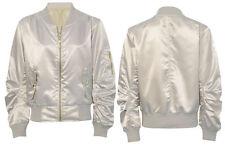 Womens Ladies Ma1 Bomber Satin Jacket Coat Biker Army Celeb Thin Summer Vintage UK XS (6-8) Cream