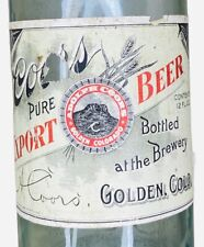 Vintage Pre-Pro Coors Export Beer 12oz Bottle W/ Labels Adolph Coors Golden Co