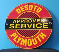 VINTAGE DESOTO PLYMOUTH PORCELAIN SIGN GAS SERVICE STATION AUTOMOBILE AD