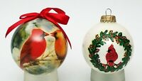2 Red Cardinal Christmas Ornament Ball 1 Glass and 1 Shatterproof