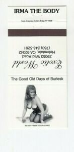 Rare IRMA THE BODY burlesque performer Matchbook Cover - Big Busty Sexy Lady