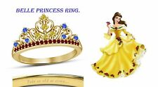 Round Cut Multi-Stone 14K Yellow Gold Plated Belle Disney Princess Ring