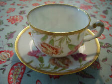 T & V Limoges France  Hand Painted Porcelain Tea Cup and Saucer Carnations EXC