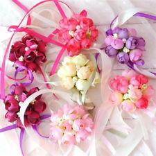 Brides Bridesmaids Wedding Bouquet Hand Flowers Wrist Silk Rose Bracelet Decor