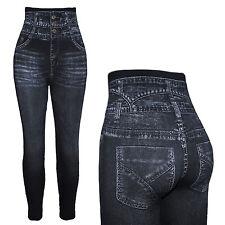Hochbund Bauchweg Mieder Leggings Miederhose Jeans Look Treggins 34-52