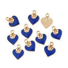 10PC Blue Heart/Rose Flower Enamel Charm Pendant Fit DIY Jewelry Finding Craft