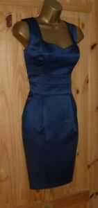 Navy stretch satin pleated wiggle tulip pencil party cocktail dress size 12