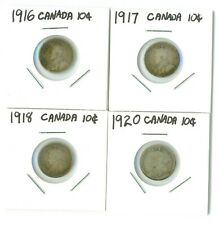 1916 1917 1918 1920 CANADA SILVER 10 CENT DIME LOT OF 4  $2.50 SHIP!!