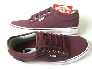 Vans Mens Chukka Low Pro Cork Wine Red Canvas Skate shoes Size 9.5 Ultracush