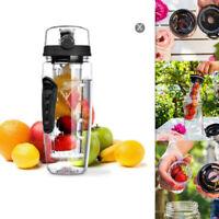 1000ml Fruit Infusing Infuser Water Bottle BPA Free Plastic Sports Detox SPM