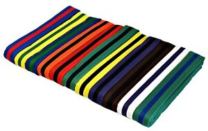 "NEW Martial Arts 1.5"" Wide Karate Taekwondo Double Wrap Striped Color Belts"