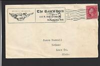 """INDIANAPOLIS, INDIANA COVER 1912. MACHINE CL.  ADVT: """"THE RAMS HORN CO""""."""