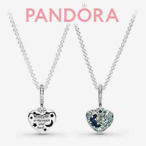 Genuine Pandora Blue Moon and Star Heart-shaped Necklace S925 Sterling Silver UK