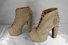 JEFFREY CAMPBELL  LITA SPIKE KHAKI WOMEN ANKLE BOOTS /BOOTIES SIZE 7.5