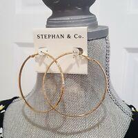 """STEPHAN & CO GOLD PLATED HOOP EARRINGS 3"""""""