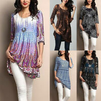 Women's Half Sleeve Floral Print Casual Long Blouse T-Shirt Ladies Top Plus Size