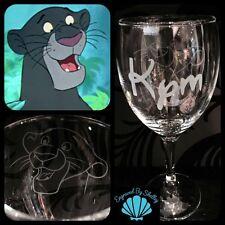 Disney bagheera, jungle book verre à vin fait main inc free personnalisé nom!