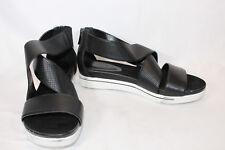 Halston Leather Sandals with Perforated Straps - Peyton 9 MEDIUM BLACK PO