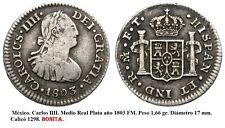 CARLOS IV. Año 1803 FM. Medio Real Plata. MEJICO. Peso 1,67 gr.