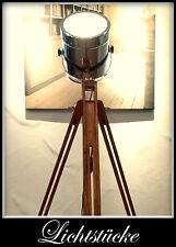 Tripod Holz Stativ Steh Lampe Leuchte mit dimmb. LED und Fernbedienung Bauhaus