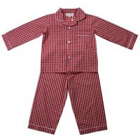 Pyjamas-PJS Long Sleeve Traditional Red/Gingham Cotton BNWT Powell Craft 2-12yrs