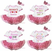 Mother's Day Valentine White Bodysuit Pink Bling Sequins Girl Baby Dress NB-18M