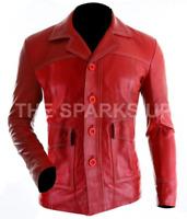 NEW Fight Club Brad Pitt Leather Jacket FC Coat Red - BIG SALE - BEST QUALITY