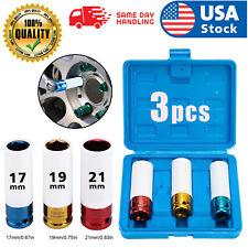 3Pcs Lug Nut Socket Set Thin Wall Deep Wheel Protector 1/2