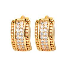 Women Shining Gold Plated Double Row CZ Cubic Zirconia Hoop Earrings Jewelry