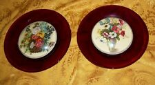 """Set of 2 Ruby Red Glass Beveled Floral Collector Plates- 6""""D"""