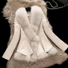 Real Fox Fur Coat With Large Collar Genuine  Leather