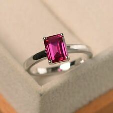 5 Cts Pink Ruby Emerald Cut Solitaire Simple Engagement Ring 14k White Gold Plat
