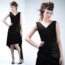 VTG 20s Black VELVET Deco RHINESTONE + BEAD Flapper GATSBY Wedding Party DRESS