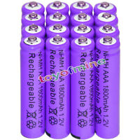 16x AAA battery batteries Bulk Nickel Hydride Rechargeable NI-MH 1800mAh 1.2V Pr