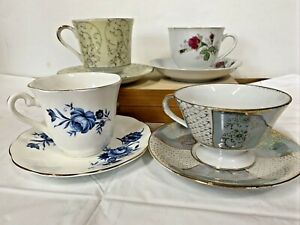 Lot of 4-Vintage Tea Cup  and Saucer sets Fine Bone Chine Made in England /Japan