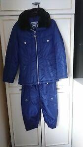 VINTAGE RODEO/C&A 2 PIECE WOMENS SHINY BLUE SKI/SNOW BOARD SUIT SIZE 10 B.N
