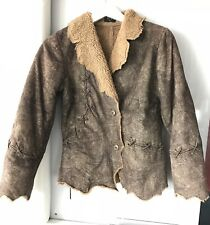Women's Stylish Faux Shearling Brown Jacket with Lace Accents Size S