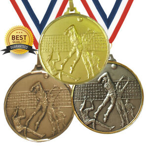VOLLEYBALL BRASS MEDAL 52mm BEST QUALITY, FREE RIBBON, 3 COLOURS,