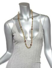 CHANEL Vintage Gold Tone Chain Ruby Glass Gripoix Crystal Station Necklace