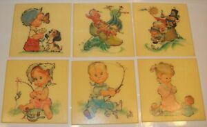 Vintage Nursery Decor Decorative Wall Plaques Girl Boy Pete Hawley Art 1962 Lot